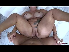 Fat babe with monster tits drilled raw by strangers cock cumming on pussy