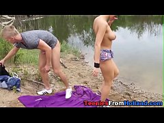 Teen spunked by the lake