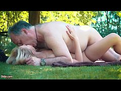 Petite teen fucked hard by grandpa on a picnic ...