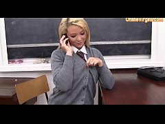 Young Naughty Blonde School Girl in High Heels and Lingerie
