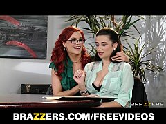 Dominant redhead lesbian convinces her co-worke...