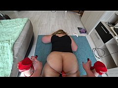 A fat lesbian with a juicy butt in sexy panties lies on the floor, and a girlfriend pov fucks her.