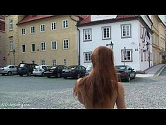 sweet redhead denisa shows her hot body on public streets