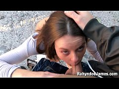 Sucking Cock outdoors by Rahyndee with big facial