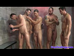 Gay bathroom orgy with bukakke ending