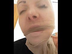 light pantyhose on my head! see how change my face and how i play with my nose....