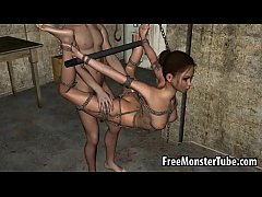 Tied up and hanging 3D brunette gets fucked harde-high 1