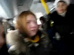 Russian girls flirt with an exhibitionist stranger on the bus