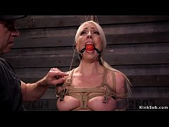 Beautiful blonde slave Lorelei Lee in strict rope bondage in multiple positions gets tormented and butt plugged then fucked by two master trainers