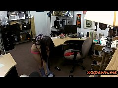 Cuban chick gives a blowjob and gets her pussy drilled by nasty pawn dude in the backroom