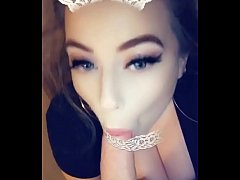 Teen whore tit fucks for a facial on Snapchat