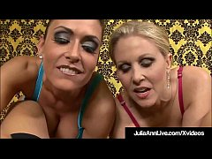 Smoking Hot Milfs Julia Ann & Jessica Jaymes stuff their mouths with a huge cock until it blows its load all over their faces & in their mouths! Time to cum swap!