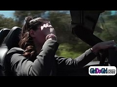 Milana May caught by police officer Georgia Jones for masturbating in someones front lawn.Milana will do anything to get out of her arrest.Georga starts kissing her and makes her eat her pussy.She lets her sit on her face before she sits on her face