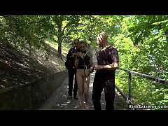 Czech slave Luca Bella with handcuffs on a leash walked in public park at river view then in public bar tied up and anal fucked