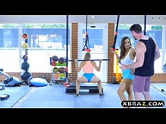 Gym babes with stacked bodies threesome with a ...
