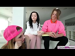 Kirsten Lee and her bffs Karly Baker, Roxy Nicole and Layla London are discussing for the babysitter deal with Mr. Dean. They let Mr. Dean sit on the couch and suck his big cock. Mr. Dean fucks their pussy one by one deep and hard.