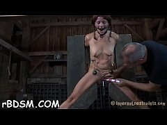 Bounded bondman beauty is getting a lusty bawdy cleft punishment