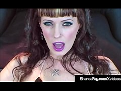 Canadian Cougar Shanda Fay Inserts a Big Dark Rubber Dick inside her creamy cunt while wearing hot fishnet stockings & high heels, pushing it in & out until she cums!