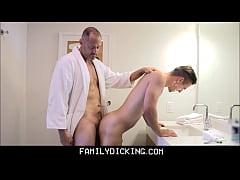 Young Stepson Needs Daddy's Help Shaving And Ge...