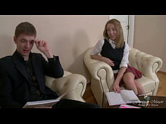 The young girl student before going to school wants to fuck her ass