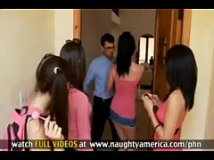 FOUR GIRLS fuck and suck ONE GUY
