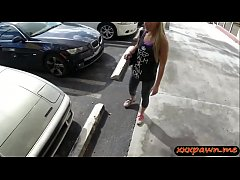 Petite amateur blonde slut gives a blowjob inside the car then gets her pussy fingered and rammed by horny pawn keeper at the pawnshop