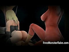 Tied up 3D cartoon lesbian babe getting whipped