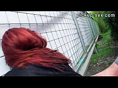 Red hair Sophia Wild gives head and pussy banged for money