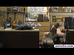 Petite amateur babe gives a nice sloppy blowjob and then gets her shaved pussy pounded real good by nasty pawn keeper at the pawnshop
