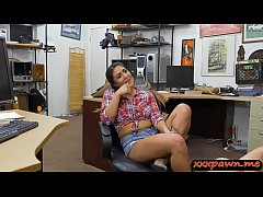 Amateur brunette country girl sucks off and gets her tight butthole banged real hard by horny pawn keeper in his pawnshop