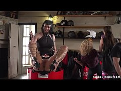 Mistress ties up hot Euro brunette slave Melody Petite in bike shop and whips her pussy