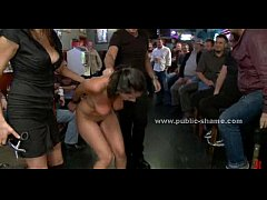 Busty babe undressed in club without clothes humiliated in group public fuck