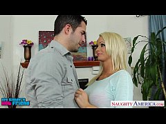 Chesty blond babe Emily Austin suck a large cock