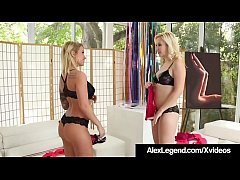 French Fuckmaster Alex Legend spies on 2 cute blondes as they tease each other. Samantha Rone & Daisy Monroe want their peeping Tom's cock & Alex is fine with that! He fucks them, tongues them & cums on them!