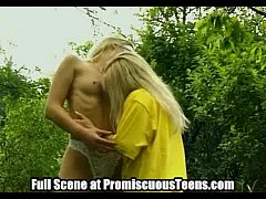 Cute Teen Lesbians Play in The Woods