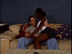 Young Kiwi hardcore fucking a white cock on the couch