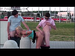 Sensacional PUBLIC group sex teen threesome orgy with a cute young blonde girl