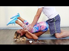 PUREMATURE Busty Milf Tegan James fucked during her yoga session