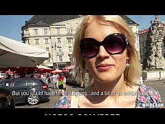 Blond Czech exhibitionist bounces her perfect a...