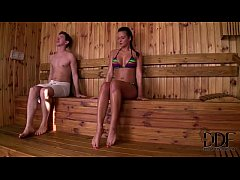foot play and sex in sauna