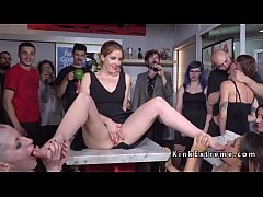 Trimmed head slave Nerea Falco dragged in public bar and there suffered hard