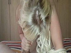 South African blonde sucking big cock