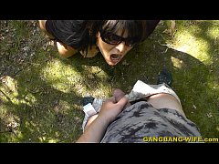 Slut pissed on by strangers in public park