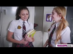 Ivy Jones, Adria Rae, and Megan Sage want to get revenge on their detention proctor Abby Lee Brazil. They start tying their proctor and Megan licks her pussy while Adria is sitting on her face letting her lick her pussy before they switch to scissoring.