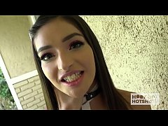 Pretty brunette babe meets a guy online and gets brutally fucked