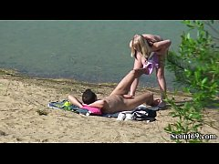 Spy Young German Teen Couple Fuck At Beach in B...