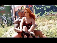 petite redhead Milf having hot outdoor fuck with athletic guy with big cock