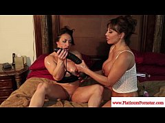 Ava Devine and her muscular girlfriend get naughty with sex toys