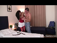 Deep throat and rough sex with girl in red lingerie