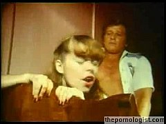 Cute girl fucked in retro porn movie with messy cumshot